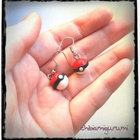 Pokeball earrings charm chibi in polymer clay inspired from Pokemon's Nintendo videogame