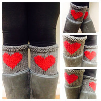 Gray Heart Knitted Leg Warmer, Knit boot toppers, Grey boot cuffs,Women leg warmers,Heart boot socks