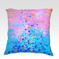 WHAT GOES UP, Revisited - Fine Art Decorative Velveteen Throw Pillow Abstract Acrylic Painting Bubbles Pink Blue Feminine Dorm Home Decor