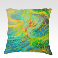 NAUTICAL GALAXY Lovely 18 x 18 Decorative Velveteen Throw Pillow Underwater Green Blue Waves Swirls Fine Art Abstract Painting Home Decor