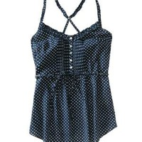 Dotted Y-Back Henley Woven Tank - Aeropostale