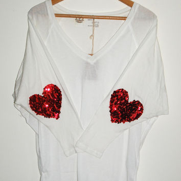 """All You Need is Love"" Sequin Heart Elbow Patch Batwing Tee - Love & Bambii - Women's Bohemian Fashion ☮ + ♥"