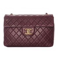 Chanel Purple Lambskin Jumbo Classic Shoulder Bag