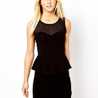 New Look Mesh Insert Peplum Dress