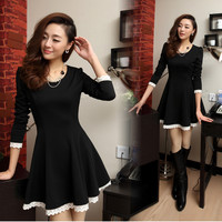 Fashion Korean Fall/Winter Womens Causal Slim Long Sleeved Mini Bottoming Dress