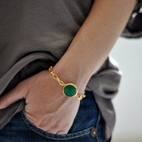 september fashion emerald green stone gemstone handmade bracelet gold chunky chain israel jewelry