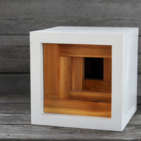The Tornado // Modern Minimalist Birdhouse in Natural Cedar and White with Layer Front