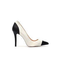 LEATHER TWO TONE HIGH HEEL COURT SHOE