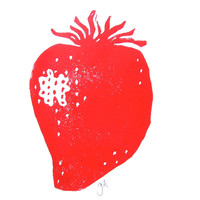 LINOCUT PRINT - red strawberry 8x10 gardening fruit print