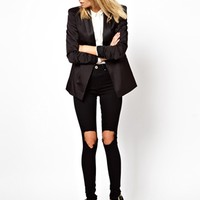 ASOS Ridley Supersoft Ultra Skinny Jeans in Clean Black with Busted Knees