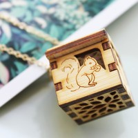 Woodland Animals Locket - Squirrel, Deer, Rabbit, Bear Open/close Wooden Locket