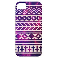 Purple Pink Nebula Stars Space Abstract Geometric Chevron Cross Tribal Pattern