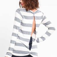 OPEN BACK STRIPED SWEATER