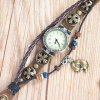 MagicPiece Handmade Watch For Women Footprints Pendant and Wooden Bead B