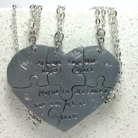 Heart Shaped Puzzle Necklaces Set of 5 Interlocking Necklaces Always Together Saying Polymer Clay Made to order
