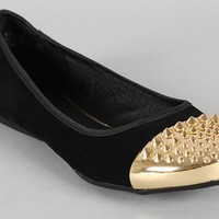 Black and Gold Cap Toe Studded Flats