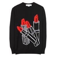 mytheresa.com - Wool and silk-blend lipstick-intarsia sweater - Luxury Fashion for Women / Designer clothing, shoes, bags