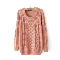 color twist round collar Fresh pullovers
