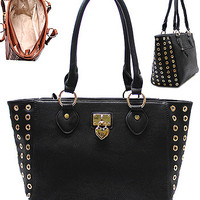 Gold Accent Tote, Black