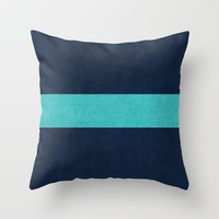 classic - navy and aqua Throw Pillow by her art
