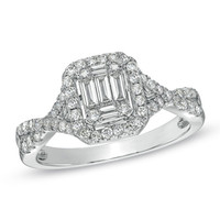 5/8 CT. T.W. Baguette Diamond Frame Engagement Ring in 14K White Gold