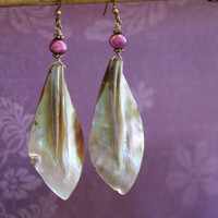 Hawaiian Style Mother of Pearl Earrings, Sea Shell Earrings - Customize bead color and wire