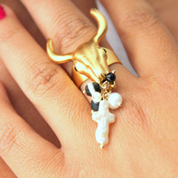 Gold adjustable ring Bull skull Pearl white black Rhinestones and Gemstones - 14k plated gold adjustable ring