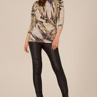 Cream and Multicolor Chinese Print Tunic Top
