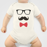 STAY CLASSY - MUSTACHE & BOW TIE Onesuit by Allyson Johnson