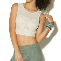 Sleeveless Mesh Lace Crop Top | Wet Seal