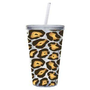 Cypress Home 17-Ounce Insulated Cup With Lid and Straw, Leopard: Kitchen & Dining