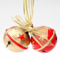 Stars Sleigh Bells Christmas Tree Ornaments, Set of 4 - Seasonal & Holiday Decorations