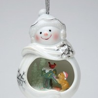 Snowman with Dog and Cardinal Bird Christmas Tree Ornaments, Set of 4 - Seasonal & Holiday Decorations