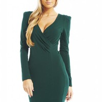Green Long Sleeve Bodycon Dress with V-Neckline