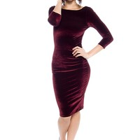 Nouveau Riche Open Back Velvet Dress - Burgundy from Love J at Lucky 21