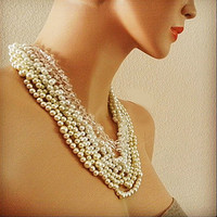 Pearl Bridal Necklace, Chunky Pearl Crystal Wedding Statement Layered Necklace