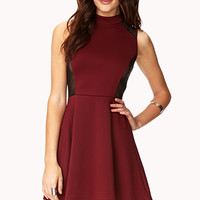 Bombshell Mesh-Trimmed Skater Dress