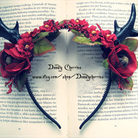 "Elegant Enchanted Mori Goth deer horns antler hair band ""Autumn Mistress"""