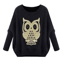 ZLYC Womens Batwing Sleeved Owl Pullover Loose Sweater