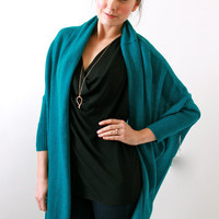 Subtle Luxury, Teal Cashmere Open Cocoon Shawl Sweater
