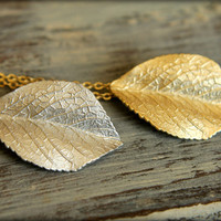 Folded Leaf Necklace, Available in Silver and Gold