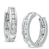 1/10 CT. T.W. Diamond Huggie Hoop Earrings in 10K White Gold