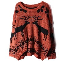 Deer round neck knit pullover sweater BBCABI from foreverunique