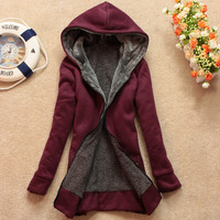 Plus Velvet Long-Sleeved Hooded Sweater Coat Loose JCHCB from foreverunique