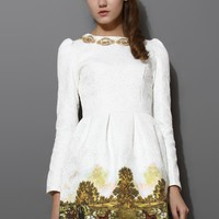 Scenic Print Jacquard Dress White