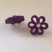 Purple Earrings - Flower Rhinestone Earrings - Purple Stud Earrings Floral Earringsd