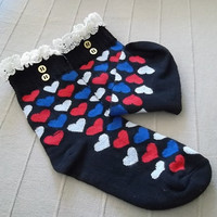 Christmas Gift Heart pattern - Boot Socks