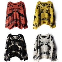 Deer round neck knit pullover sweater BBCABI