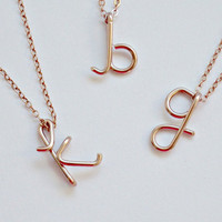 Rose Gold Monogram Initial Necklace Personalized Monogram Necklace gift Personalized Bridesmaid Gifts Girlfriend gifts Tiffany's Inspired