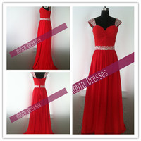New Prom Dresses, Custom-made Long Floor Length Cap Sleeves Red Chiffon Prom Dresses Bridesmaid Dresses Party Dresses